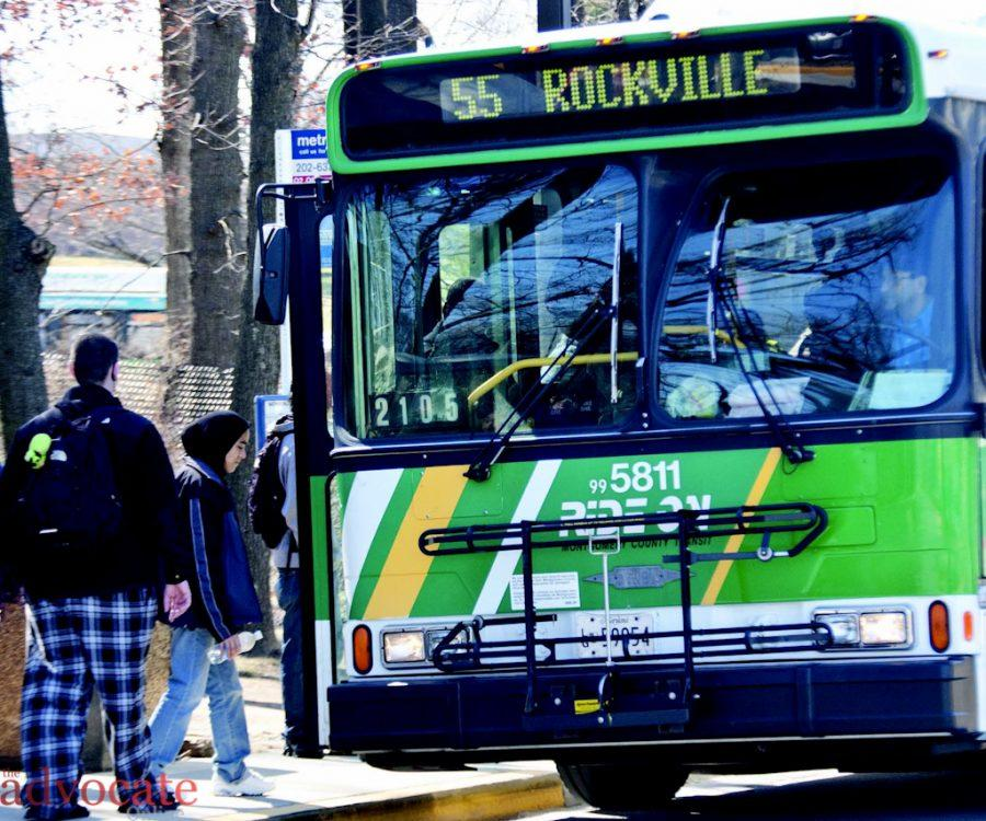 Part+of+tuition+pays+for+unlimited+access+to+Ride-On+routes.+The+%2346+%26amp%3B+55+busses+service+Montgomery+College+Rockville+Campus.+--+Photo+by%3A+Victoria+Colbert