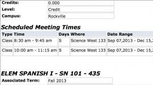 Saturday Class Scheduling Snapshot