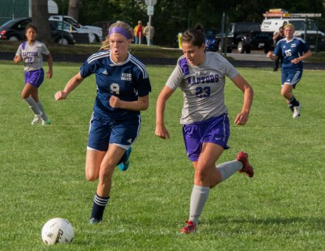 MC's defender, Emma Recchia, attacks the ball in the game against CCBC Essex Knights. (Photo credit: Adriano Cassoma)