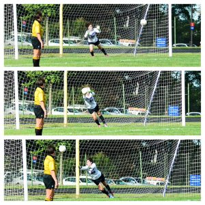 Freshman Alexis Frager, 24, makes a save, helping to secure the Raptors' win. (Photo Credit: Montgomery College Athletics)