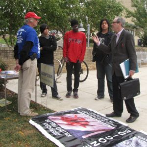 A gathering of students discuss and debate the topic of abortion with Garrison frequently throughout each day.