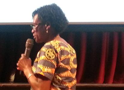Dr. Elavie Ndura speaks to students about working toward international peace (Photo Credit: Christina Williams)