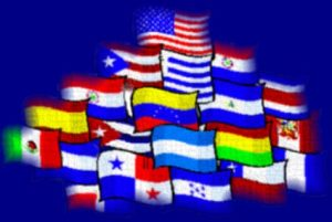 A collage of Latin American Flags representing different heritages