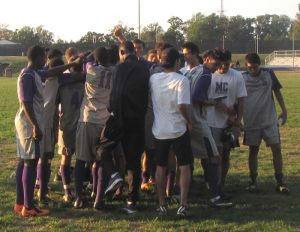 Raptors congratulate each other after the 10-0 victory over Chesapeake College Skipjacks. (Photo Credit: Kevin Ortiz)