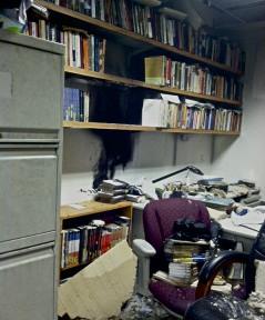 Damage to the wall at the Humanities building (Photo credit: Nadia Palacios)