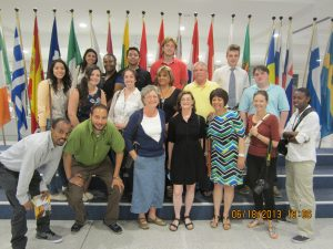 Students and faculty of the MC Study Abroad Program at the European Union Parliament. (Photo Credit: Greg Malveaux)
