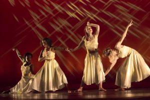 "Sakina Seisay, Myesha Singleton, Ainslie MacDougall, and Anna-Sophia Adamiyatt in ""Elite in Gold"" choreographed by student Kevin Ortiz-Arias (Photo Credit: Emmanuel Jean-Marie)"