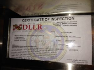 MC Rockville Campus Center Inspection Certificate Circa 2014. Photo by Nat Swanson