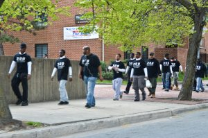Tuesday ,April 28: The 300 Men March in Baltimore (Photo Credit: Peter Langer)