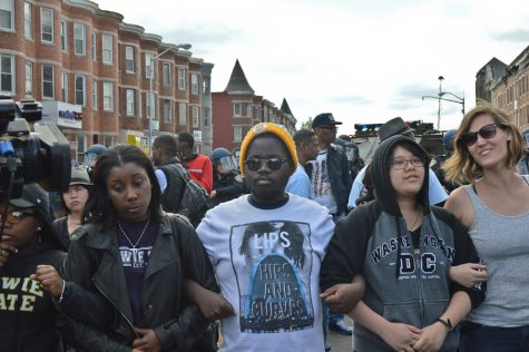 Tuesday ,April 28: Peace Protesting in Baltimore (Photo Credit: Peter Langer)