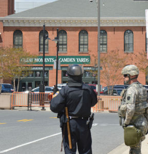 Local Police and National Guards at Camden Yards