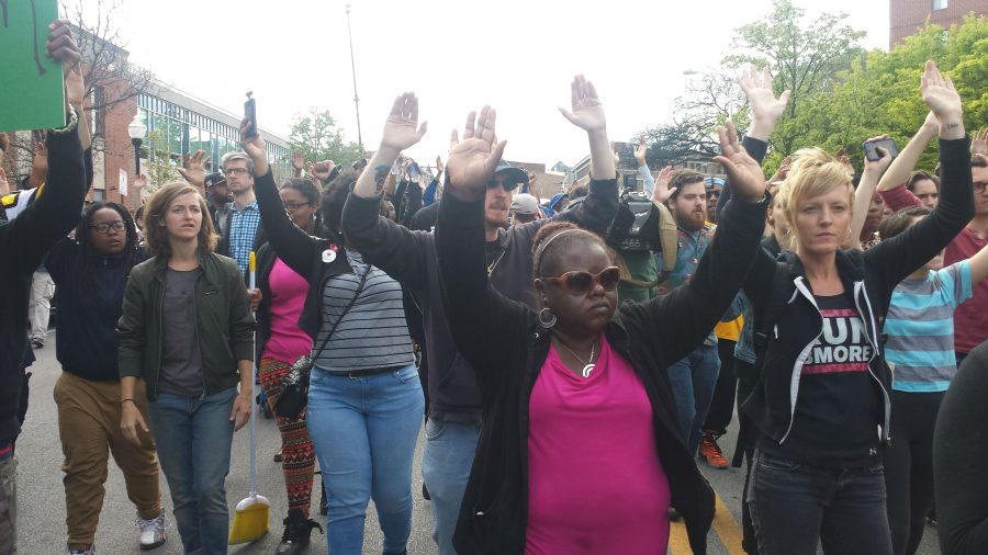 Baltimore Protesters Hand Up Dont Shoot
