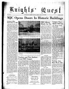 The front page of the Knights' Quest from Oct. 11, 1950