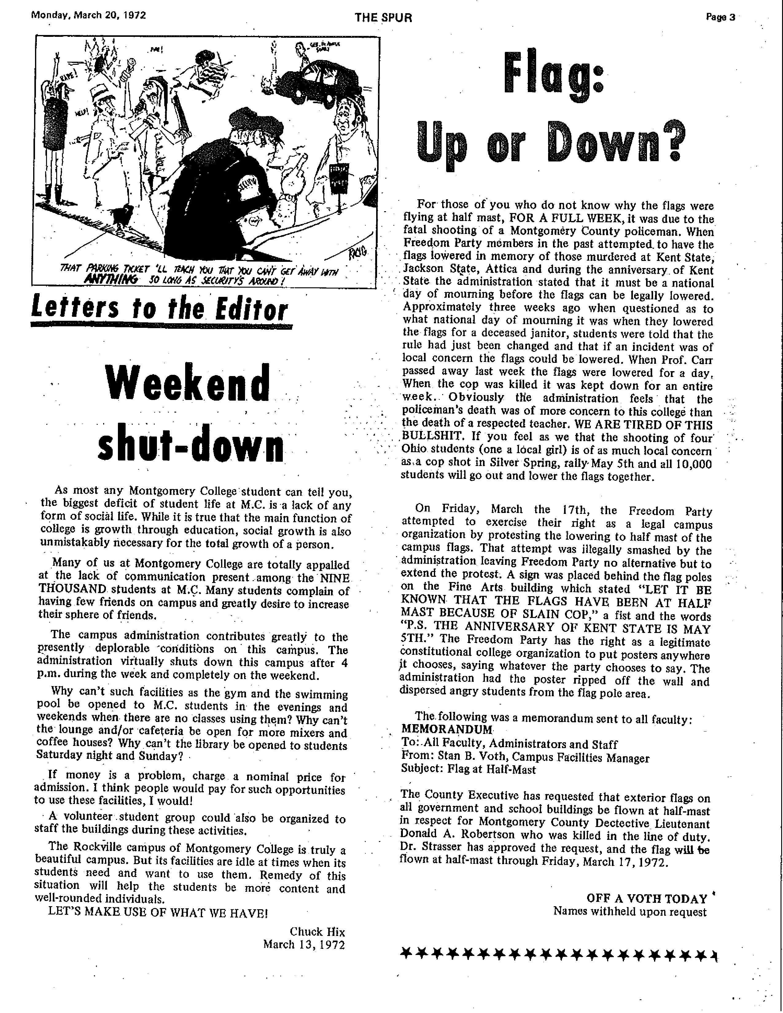 Throwback Thursday: Weekend shut-down–Letter to the Editor