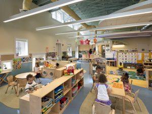 Children play in the MC Rockville campus child care center.