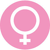 Digital illustration of female symbol in pink circle on white background http://www.gettyimages.com/detail/illustration/digital-illustration-of-white-lightning-royalty-free-illustration/112706543