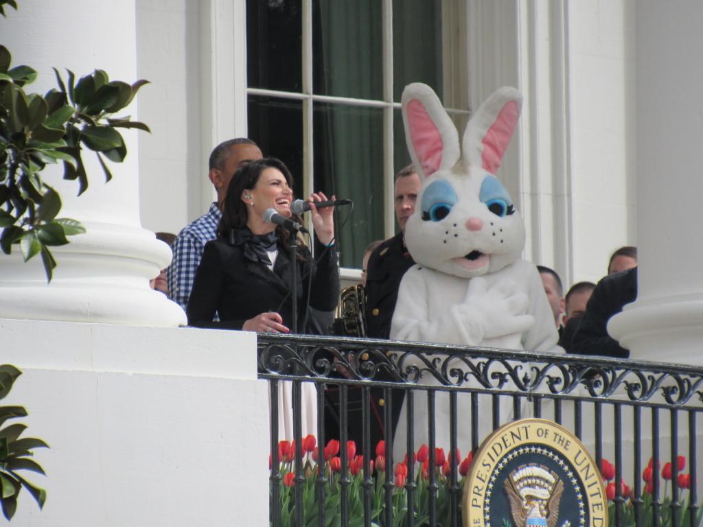 Idina Menzel with President Obama after finishing the singing the National Anthem. (photo: Sara Monterroso)
