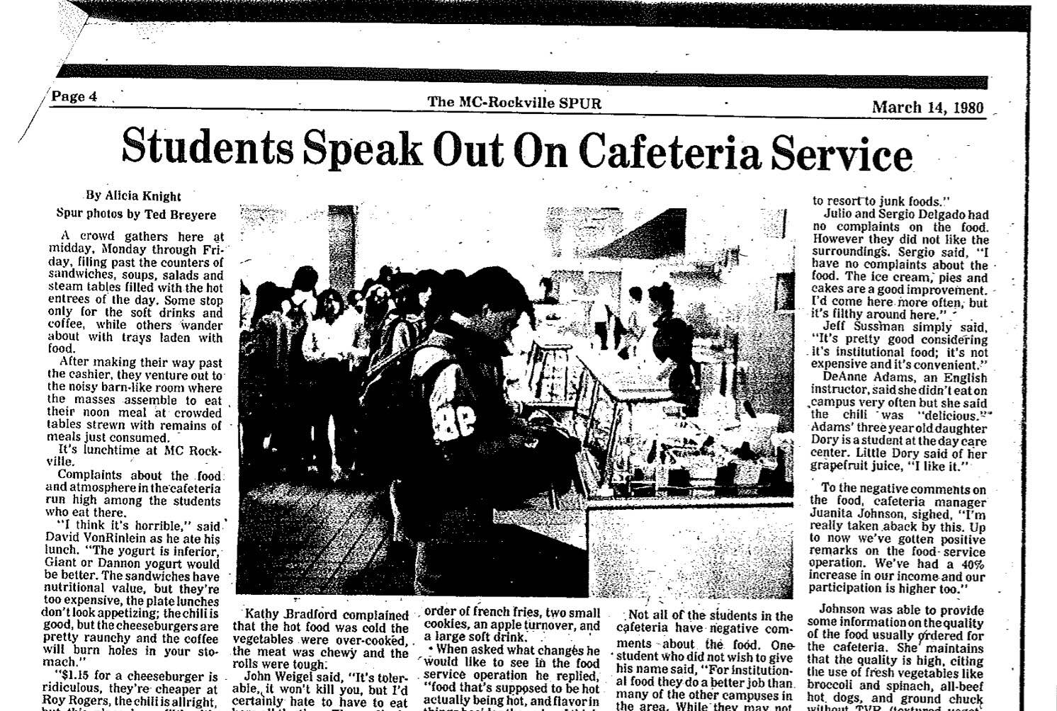Throwback Thursday: Students Speak Out on Cafeteria Service