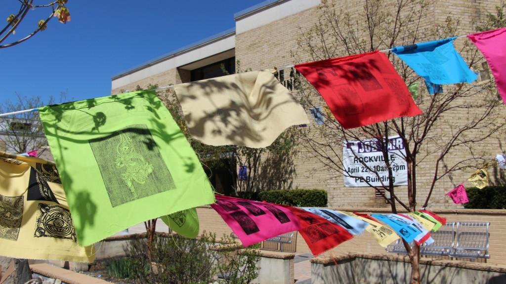 Prints on flags at the art w@lk (photo: Nikole Coates)