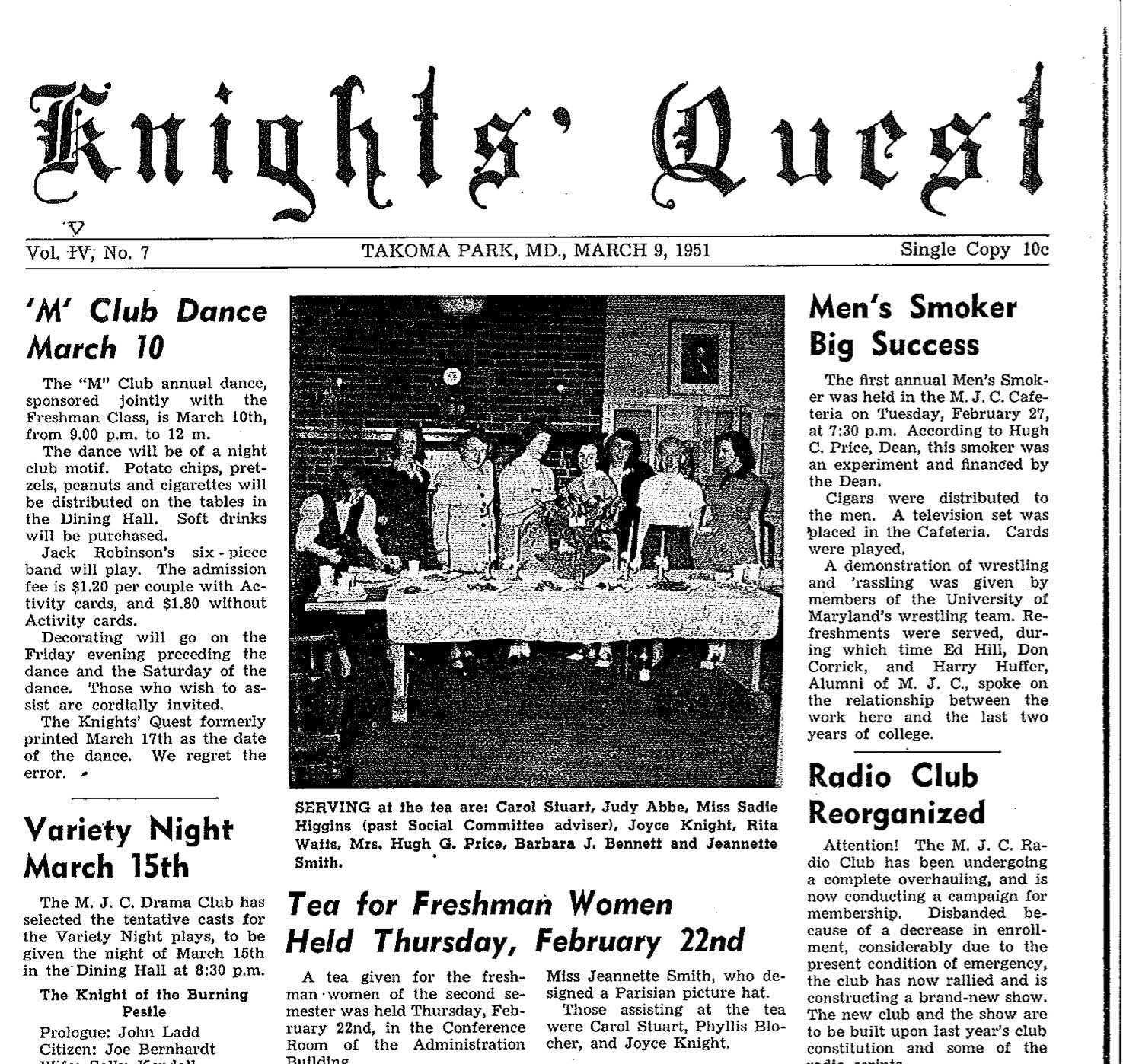 March 9 1951, Student Life at MC
