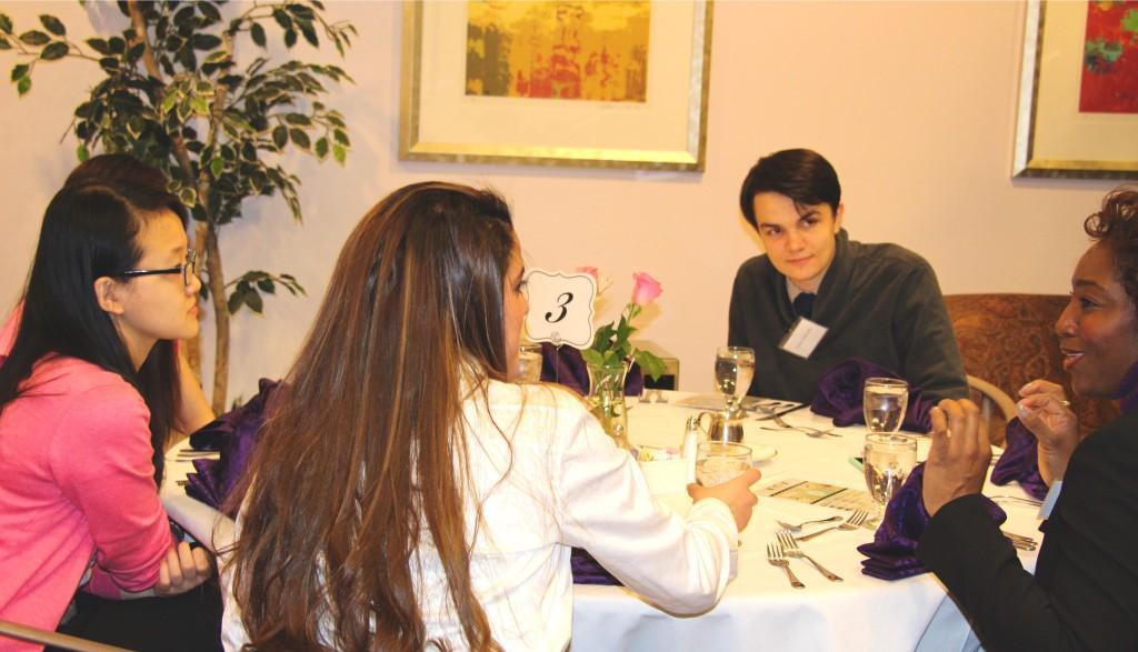 Students having conversation at the etiquette dinner. (photo: Sara Monterroso)