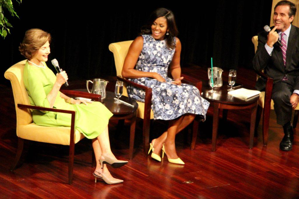 Former First Lady, Lauren Bush, First Lady Michelle Obama, and ABC anchor, Bob Woodruff at the Joining Forces initiative conference. (photo: Sara Monterroso)