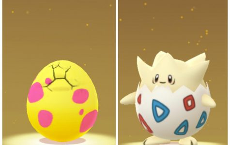 In Pokémon Go, pokémon trainers can accrue eggs as gifts from friends or from spinning Pokéstops. Using an incubator, an in-game item, trainers walk a required amount of kilometers, tracked by their portable device's gps, to hatch them. This little pokémon is a Togepi.
