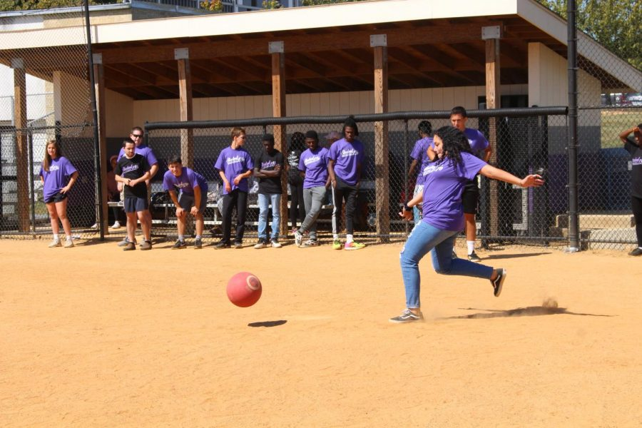 Students vs. Faculty playing kickball on Sep. 20.