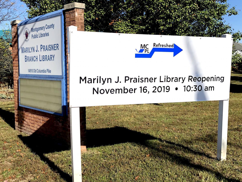 Marilyn J. Praisner Library Reopening Nov.16th.