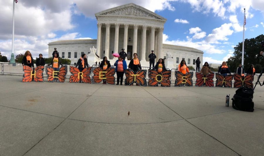 Immigrant-rights advocates from United We Dream, the nation's largest immigrant youth-led network, stand in solidarity with DACA recipients days before Nov. 12 hearing.