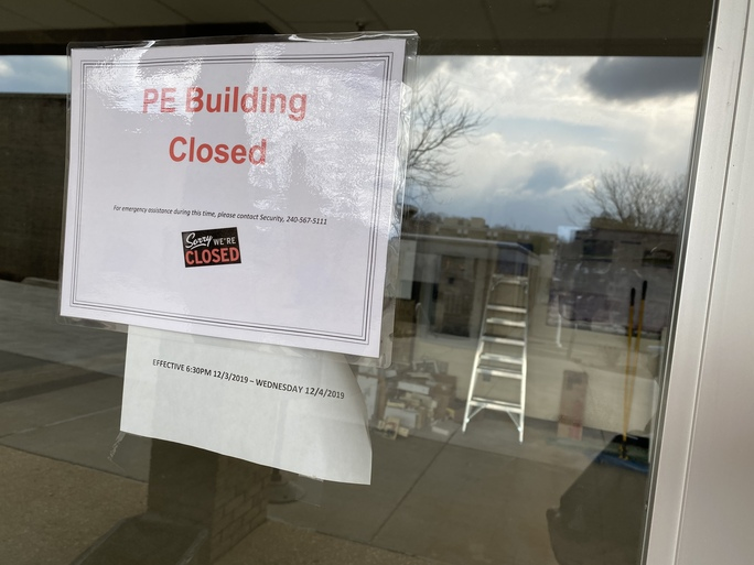 Sign indicating closure of P.E. Building.