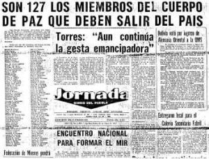"Newspaper: Diaro Del Pueblo from Tuesday May 25th, 1971. The headline says, ""It's 127 members of the Peace Corp who must leave the country."" This is in reference to the Bolivian government expelling the Peace Corp after it came to light that they were coercing and forcing Indigenous women to be sterilized."